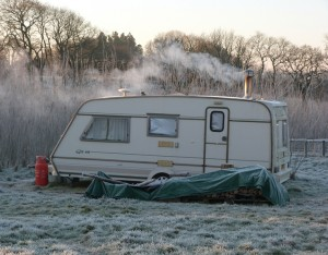 caravan in winter