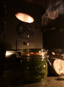 Macerating oil by wood burner